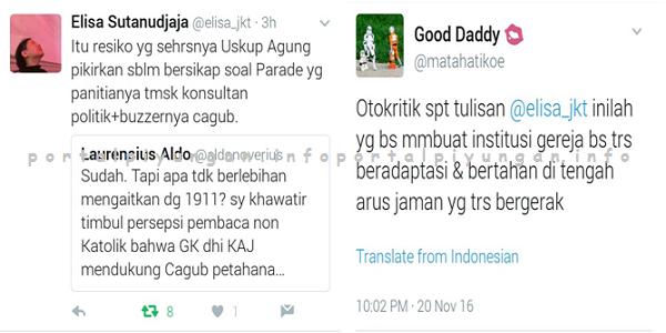 LANTANG! Elisa Sutanudjaja: Saya KECEWA dan PROTES Atas Keterlibatan Keuskupan Agung Jakarta Dalam Parade 19/11 : Detikberita.co Terupdate Hari Ini