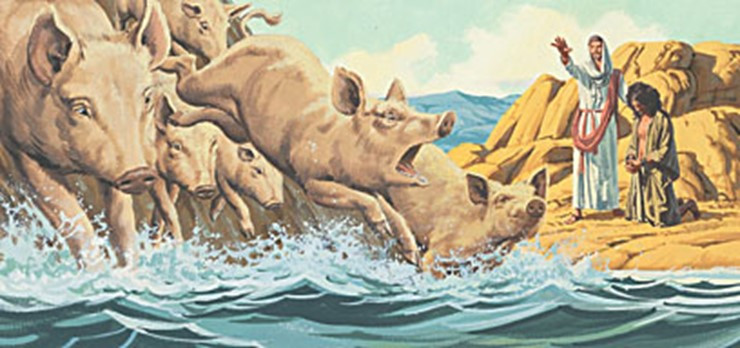 Jesus commanded the demons to leave the  tormented man and then cast them into a herd of pigs that rushed down the steep bank into a lake and drowned (Matthew 8:28-34, Mark 5:1-20, Luke 8:26-39).
