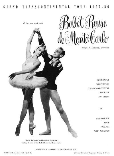 Magazine Ad with two ballet stars posed in costume for Ballet de Russe Monte Carlo 1955-1956