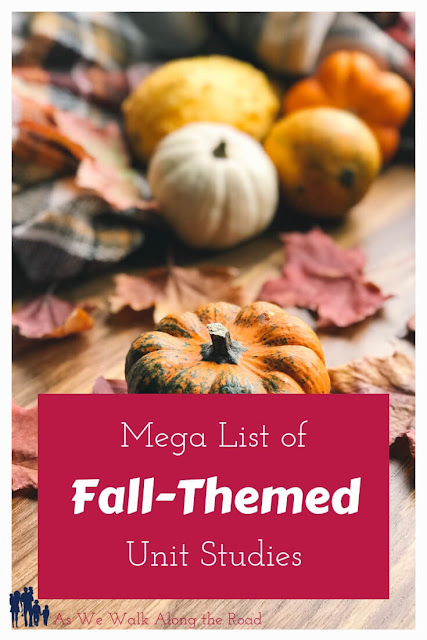 Celebrate #fall with this HUGE list of fall-themed #unitstudies. #homeschooling #AsWeWalk