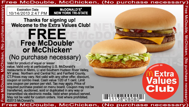 Printable Mcdonalds Coupons Free Food