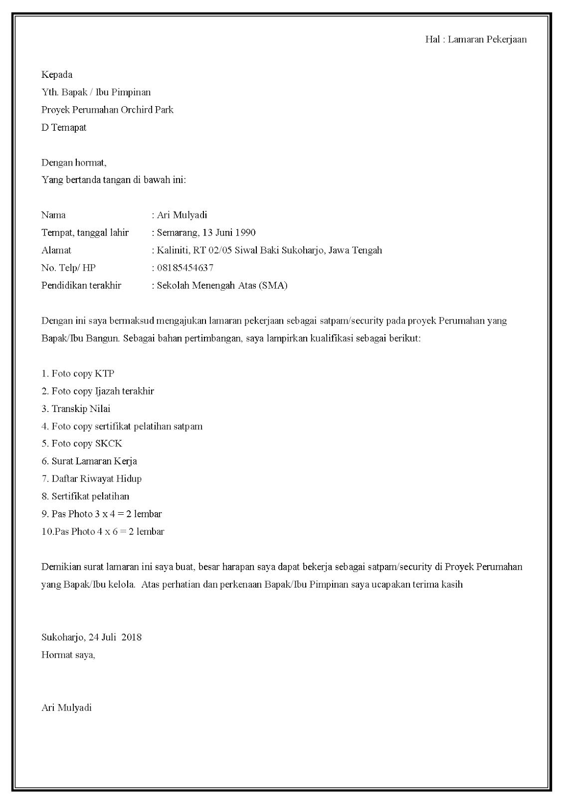 Contoh surat lamaran kerja security di proyek