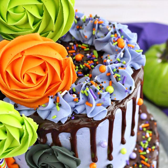 Purple Velvet Halloween Layer Cake from LoveandConfections.com #HalloweenTreatsWeek #ad