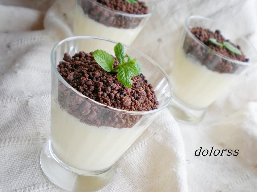 crema de limón con migas de chocolate