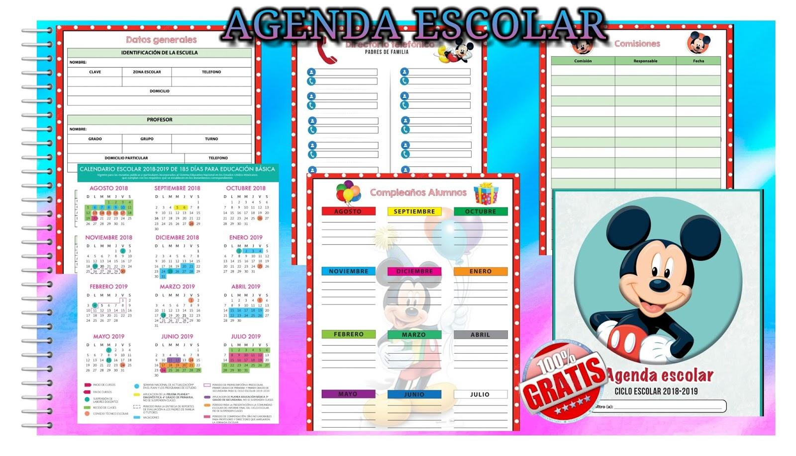agenda escolar dise u00f1o mickey mouse 2018-2019