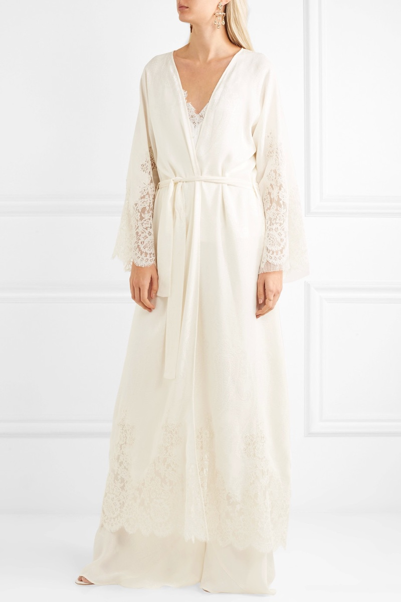 Etro Lace-Paneled Silk-Jacquard Robe
