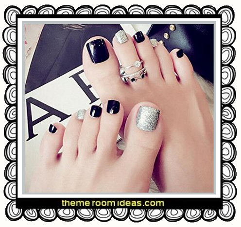 Shiny Silver Finished Toe Nails Glitter Decoration Toenails Design Black Fake Nails 24pcs