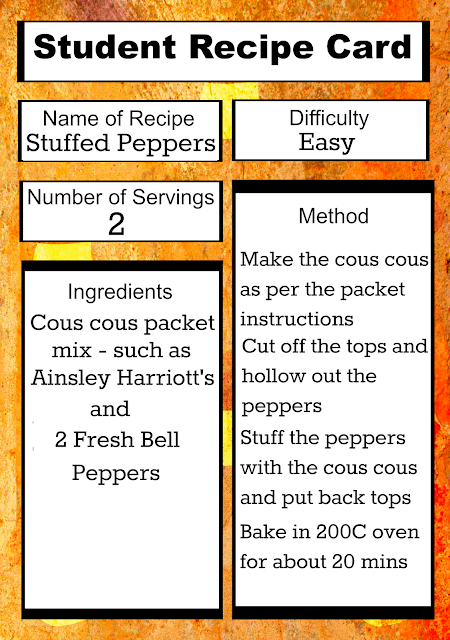 Free Printable Student Recipe Card: Easy Stuffed Peppers
