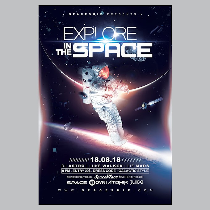 Space exploration poster psd