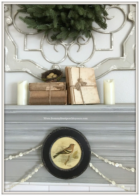 Winter Mantel-French Country-Farmhouse-Vignette-Vintage Style-Cottage Style-Bird Picture-From My Front Porch To Yours