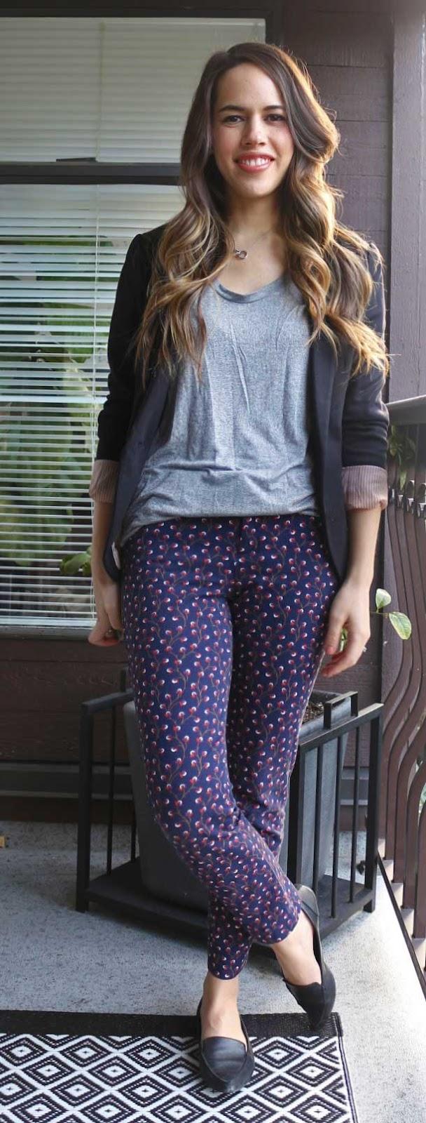 Jules in Flats - Printed Skinny Pants, Tshirt, Blazer