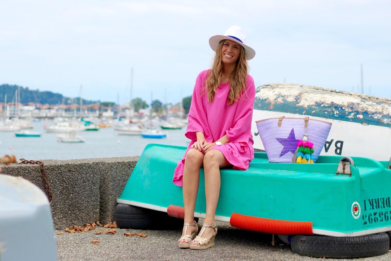 vestido playero rosa