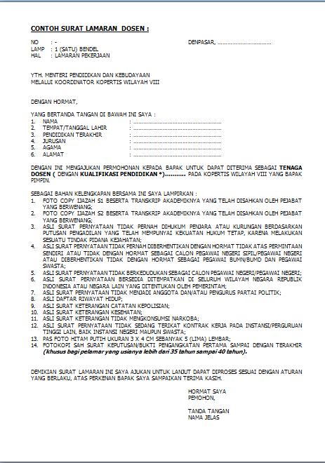 Dokumen Pekerjaan Contoh Surat Lamaran Kerja Dosen