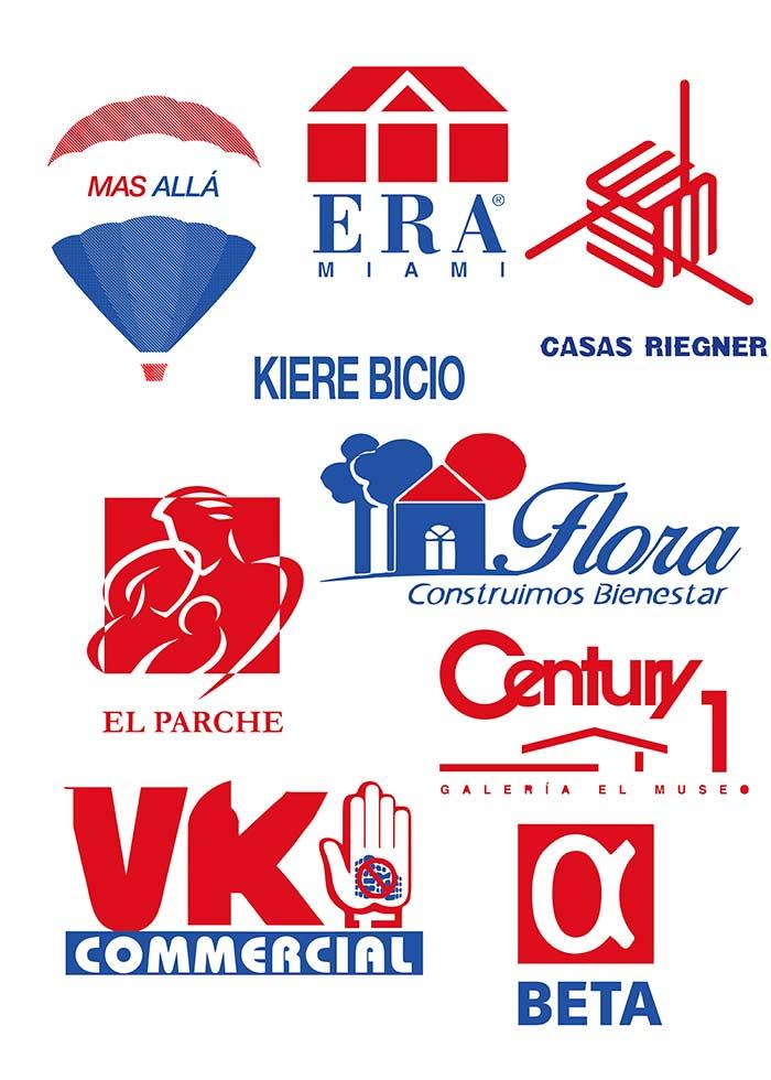 Intervención de logos de galerías seleccionadas que son comparados con inmobiliarias y constructoras.
