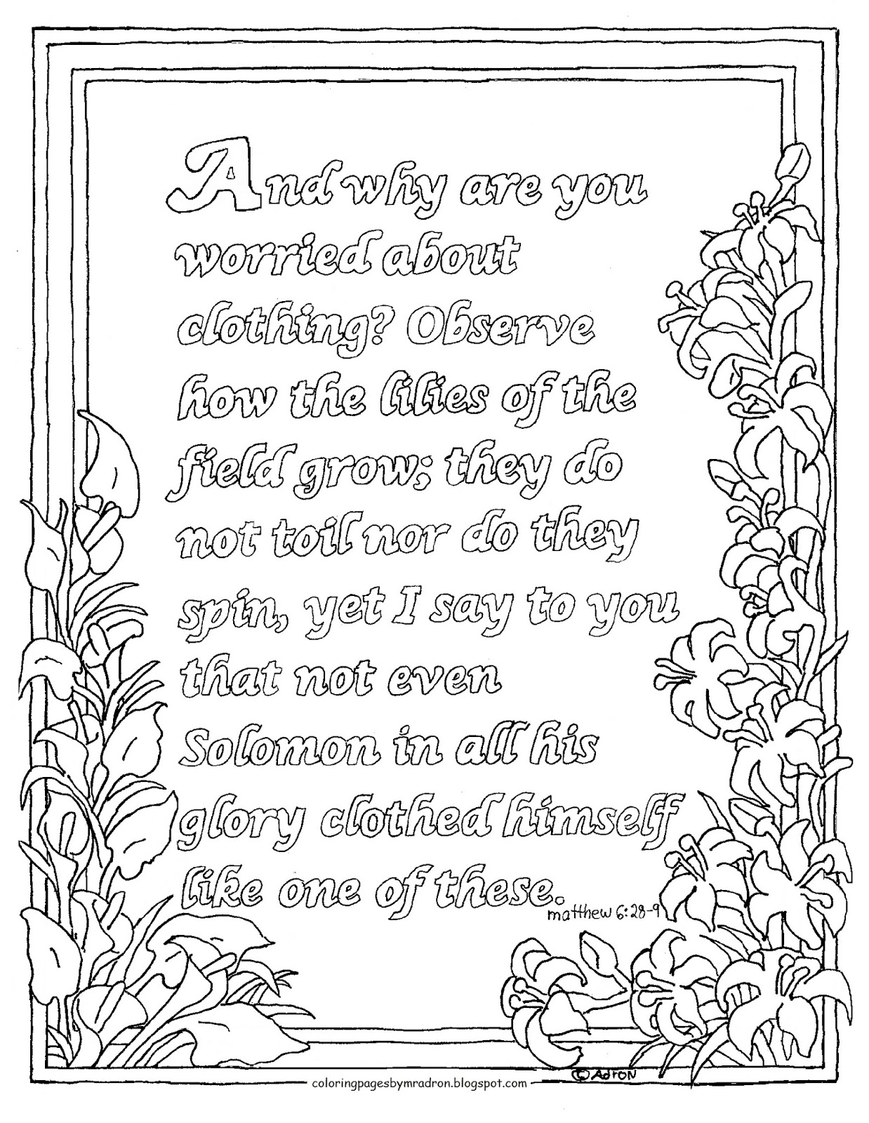 Coloring pages for kids by mr adron printable coloring for Matthew 6 25 34 coloring page