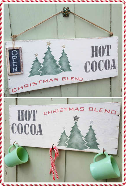 two hot cocoa stenciled signs with Old Sign Stencils on repurposed wood
