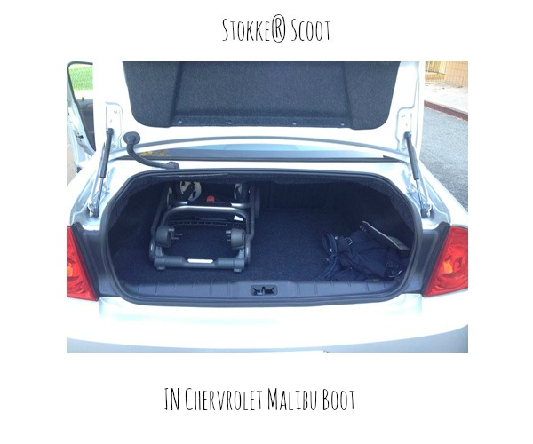 Stokke Scoot in Chevrolet Malibu Boot (2012 Model)