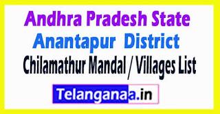 Chilamathur Mandal Villages Codes Anantapur District Andhra Pradesh State India