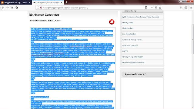 Disclaimer sudah jadi Sob, Sobat bisa langsung mengkopi versi kode HTML nya kemudian pastekan ke mode HTML halaman Disclaimer Sobat.