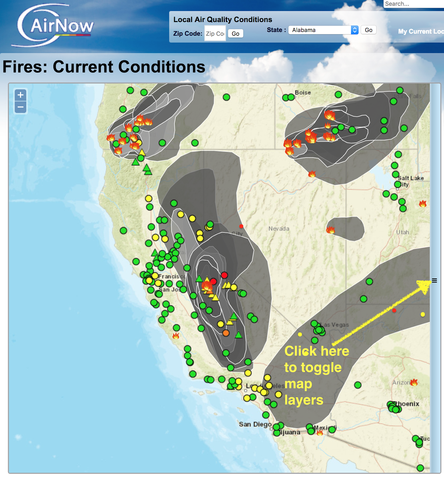 map of today s smoke plumes fire location and current monitored surface concentrations from epa s airnow page smoke plumes are drawn based on satellite