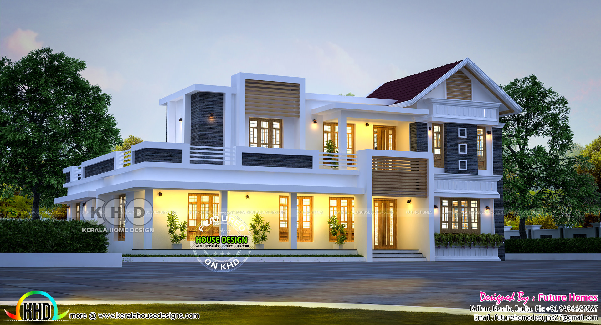 Mix Roof Home By Future Homes From on Modern Front House Elevation Designs