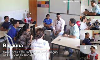 Dirigentes explicam atuação sindical a servidores da assistência social de Baraúna