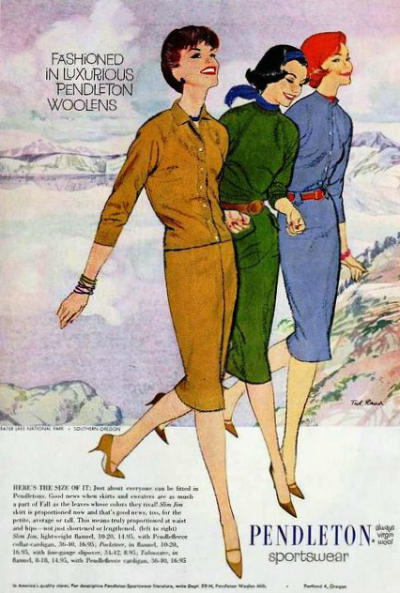 Three models for Pendleton Sportswear Ad for 1959