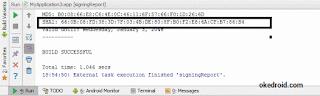 Melihat kode SHA1 di Android Studio