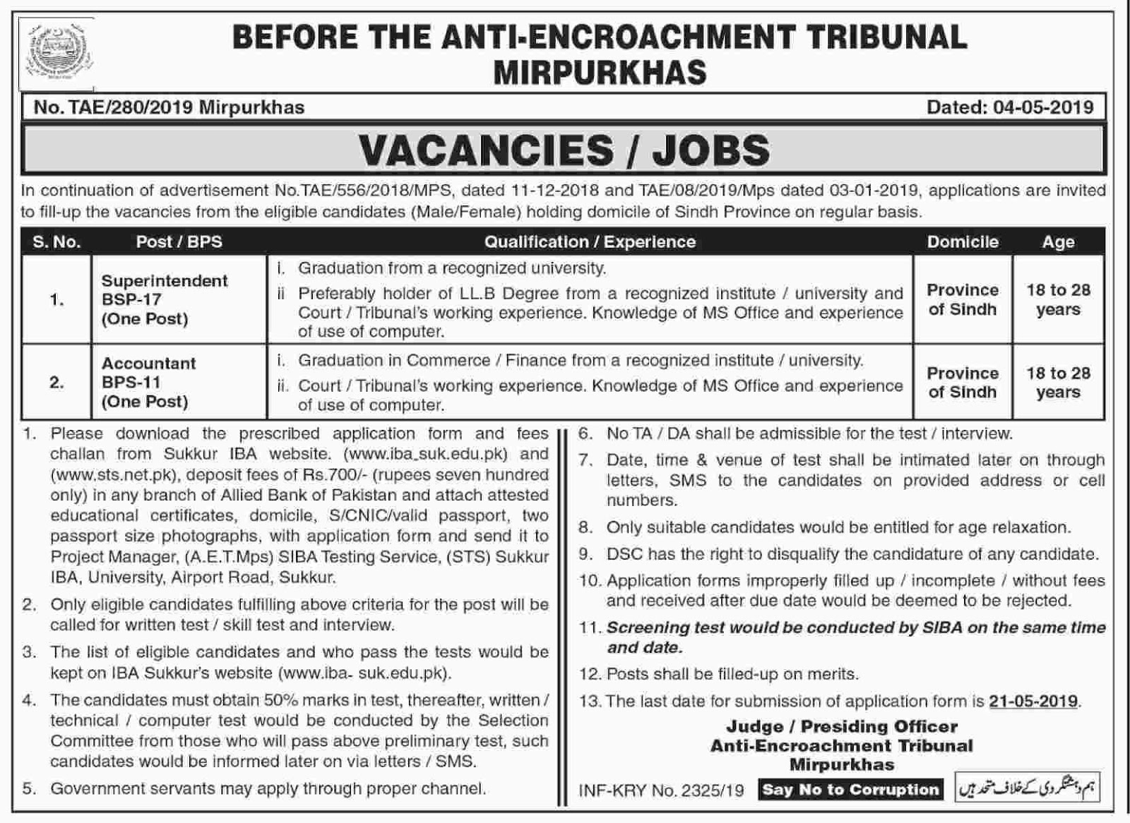 Anti Encroachment Tribunal Mirpurkhas