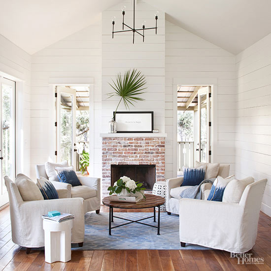 Four chairs in front of fireplace BHG