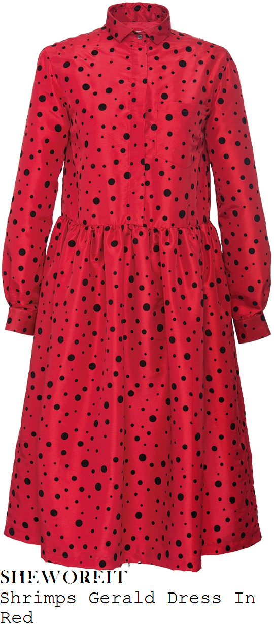 fearne-cotton-shrimps-gerald-cherry-red-and-black-flocked-polka-dot-print-long-sleeve-collared-drop-waist-oversized-taffeta-shirt-dress