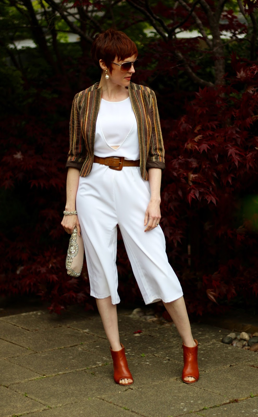 White Peek-a-boo Noisy May Jumpsuit, Topshop jacket, Tan booties, over 40 | Fake Fabulous