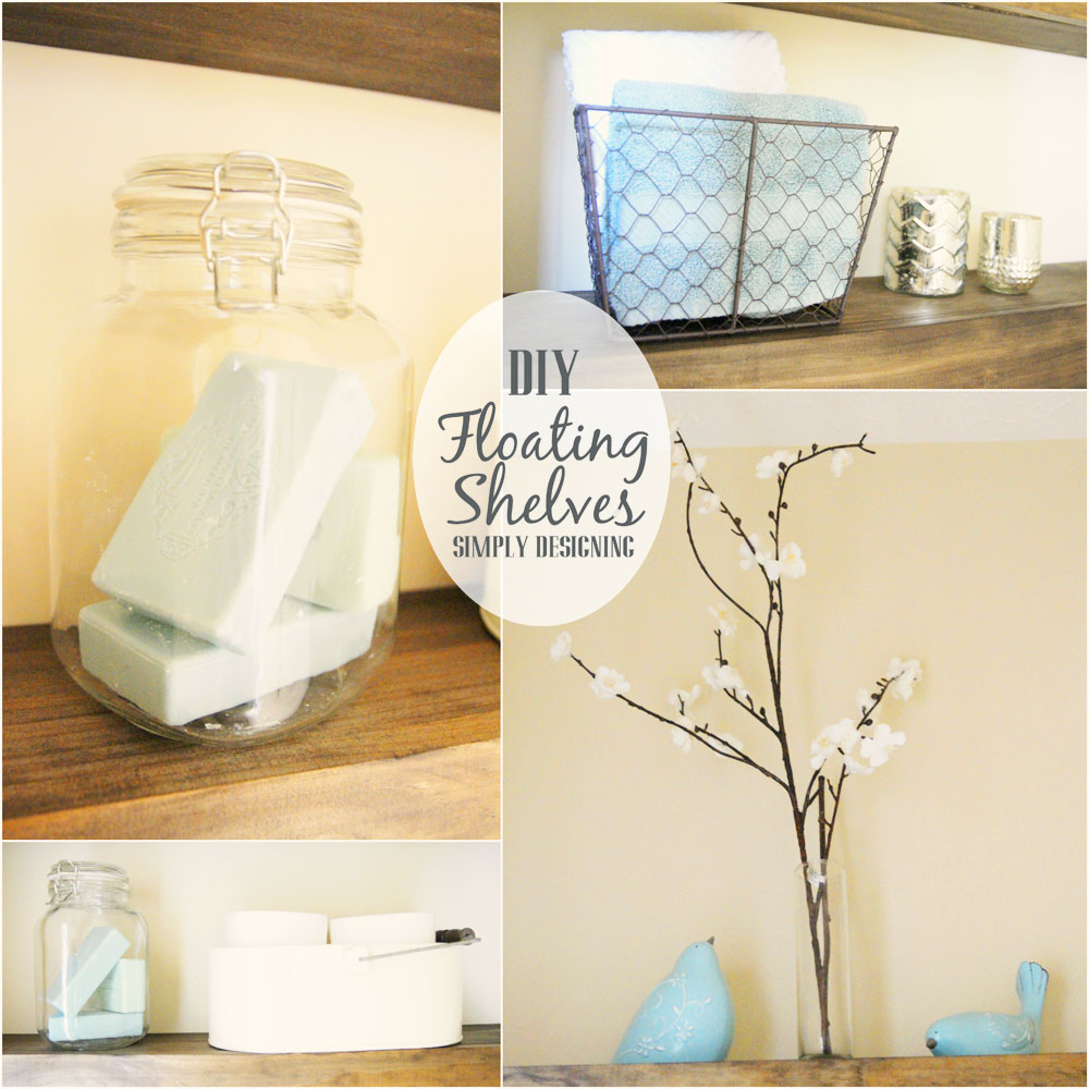 Decorating Floating Shelves in a Bathroom | how to build floating shelves - these make a perfect shelf for a bathroom or other small space |  #DIY #shelves #buildit #bathroom