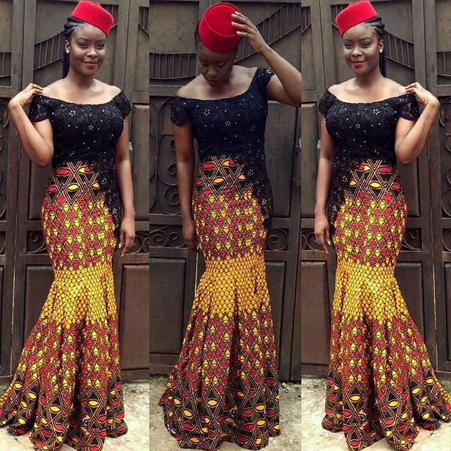 simple ankara and lace style