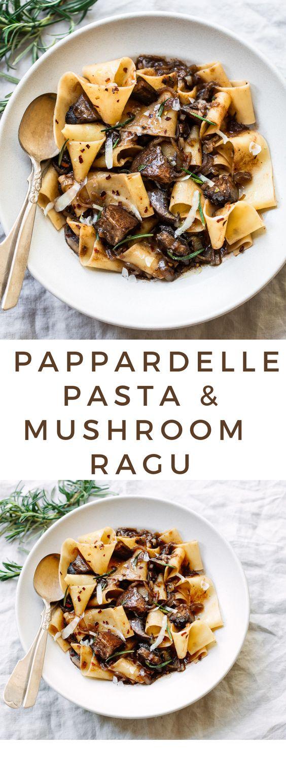 PAPPARDELLE PASTA WITH PORTOBELLO MUSHROOM RAGU #pappardelle #pasta #pastarecipes #easypastarecipes #portobello #mushroom #ragu