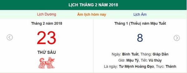 Xem ngày tốt xấu, giờ hoàng đạo - Xem lịch Thứ Sáu ngày 23 tháng 2 năm 2018