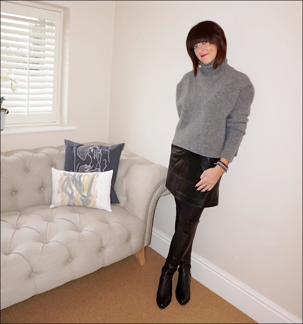 My Midlife Fashion, zara chunky cropped polo neck jumper, marks and spencer faux leather a line skirt, zara leather over the knee boots