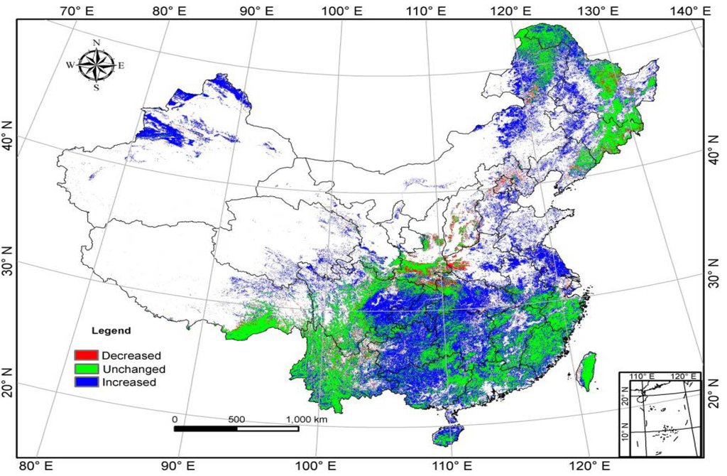 Forest distribution of China in 2001. Green (Unchanged) indicates that both data sets classify this land as forest. Blue (Increased) indicates that the area is classified as forest in the histogram results but not in MODIS. Red (Decreased) indicates that the area is classified as forest in the MODIS landcover data but not in the histogram results. (Credit: mdpi.com) Click to Enlarge.