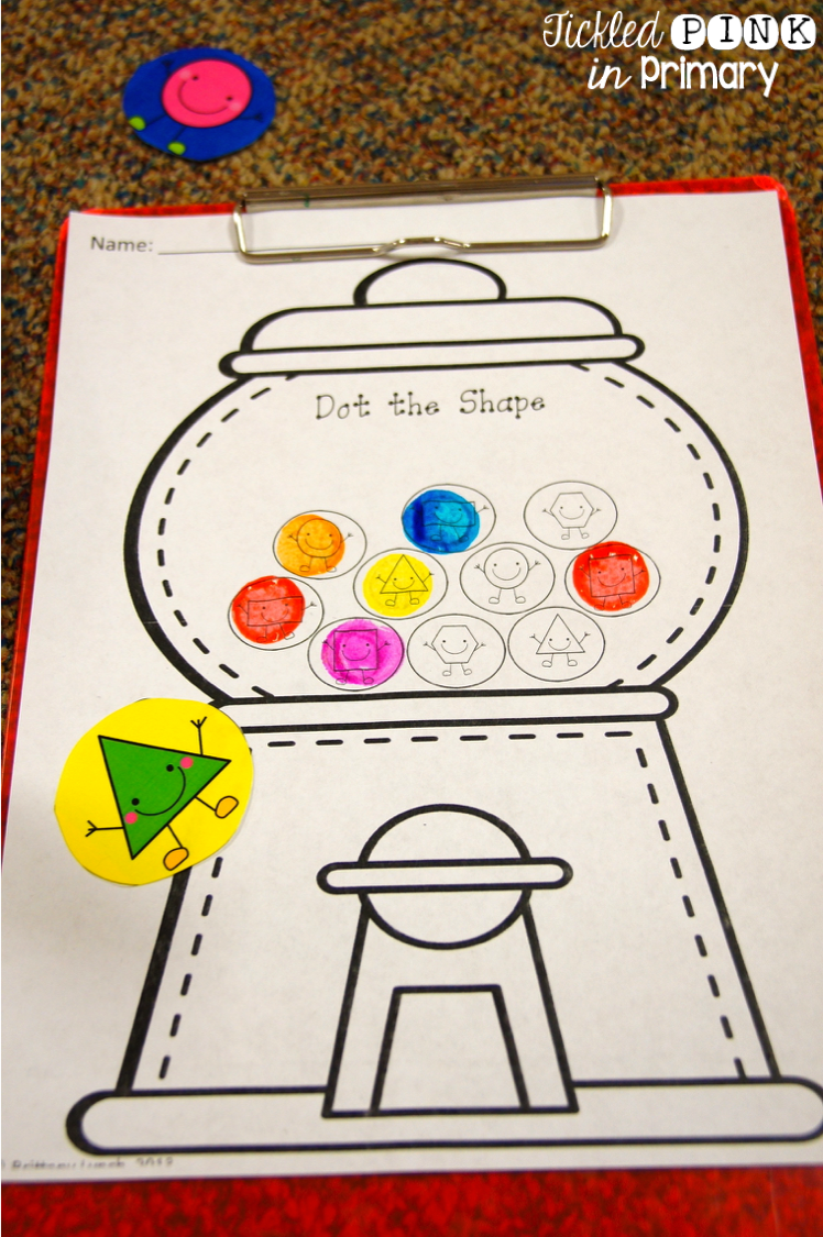 shapes worksheet using bingo daubers