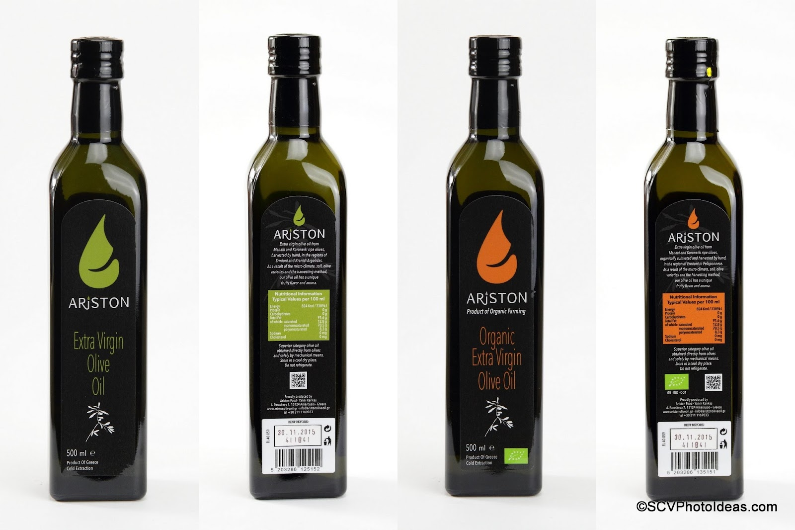 Ariston Extra Virgin Olive Oil & Organic Extra Virgin Olive Oil front and back labels