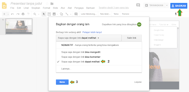 Setting file sharing google slide ke publik