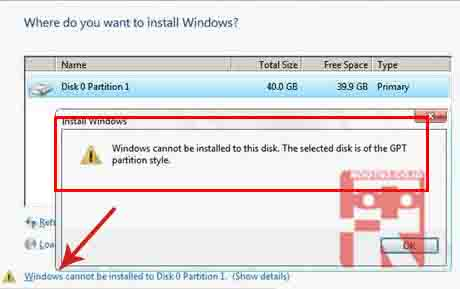 Mengatasi Windows Cannot Be Installed To This Disk, The