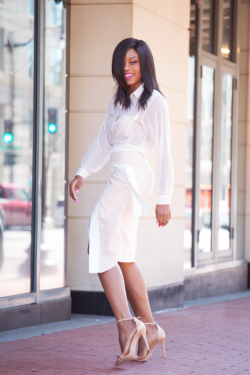 spring neutral tone. lavish wrap skirt, schutz sandals, forever21 blouse, www.jadore-fashion.com