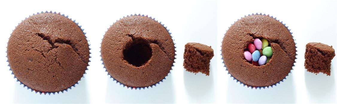 Pinata-Muffins - Schokoladenmuffins mit Smarties Anleitung