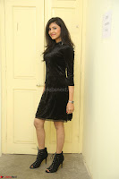 Mounika in a velvet short black dress for Tick Tack Movie Press Meet March 2017 106.JPG