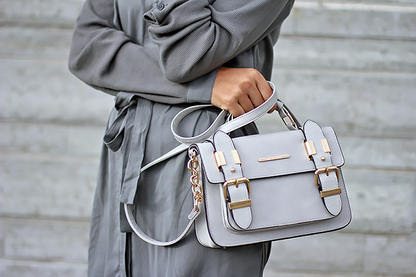 gray satchel fashion