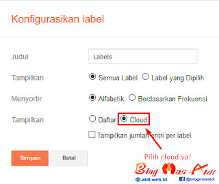 Memasang Widget Label Cloud Blog