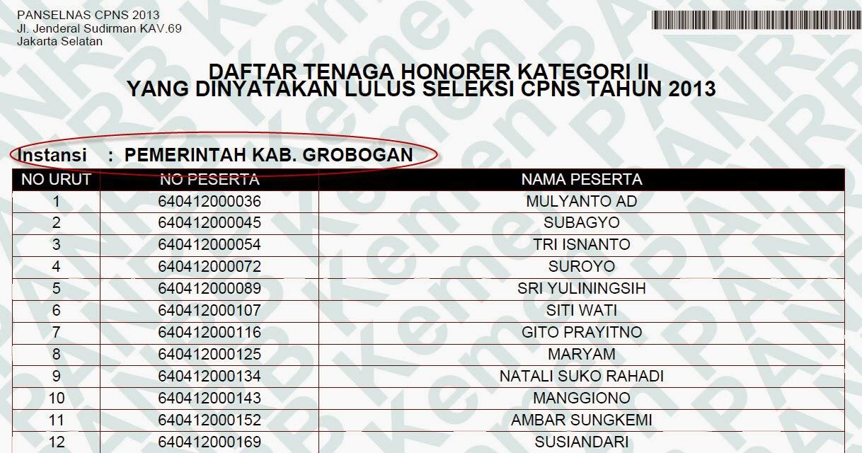 Info Cpns Guru 2013 Jawa Tengah Pusat Pengumuman Cpns Indonesia Ppci Penerimaan Casn Grobogan Yang Lulus Seleksi Cpns 2013 Penilaian Kinerja Guru 2012