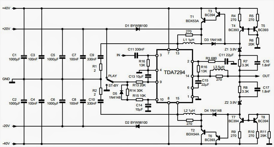 100w Audio Amplifier With Mute St By Amplifiercircuits Com