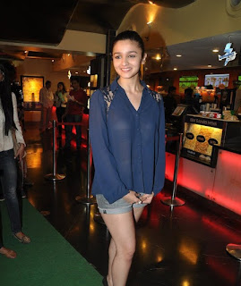 Bollywood Actress Alia Bhatt Exposing in Blue Shirt